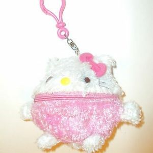 Hello Kitty Cute Round coin pouch Clip On Keyring